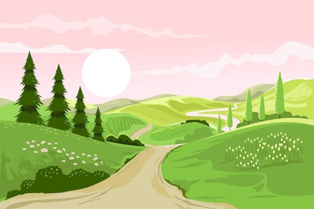 Paysage de printemps créatif dessiné à la main