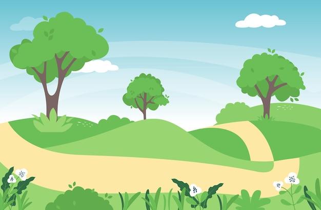 Paysage de printemps dans la campagne avec une prairie verte sur les collines et le ciel bleu, dessin animé paysage d'été ou de printemps, champ d'herbe panoramique et fleurs sauvages, fond naturel de vacances