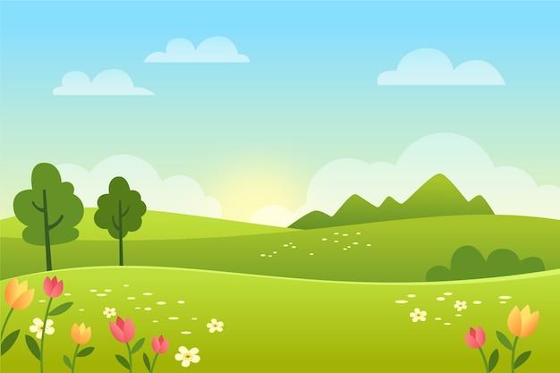 Paysage de printemps dégradé avec champ