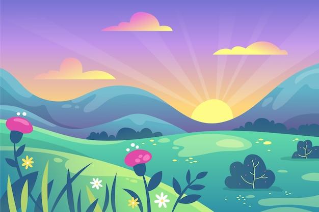 Paysage de printemps dégradé coloré