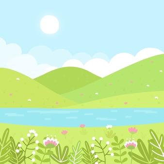 Paysage de printemps design dessiné à la main