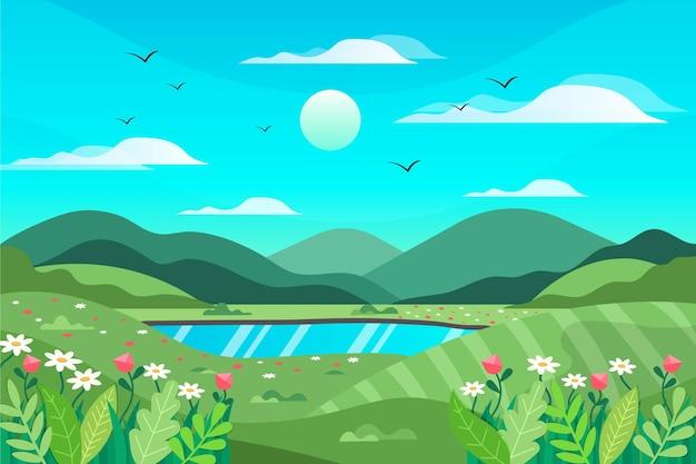 Paysage de printemps design plat créatif