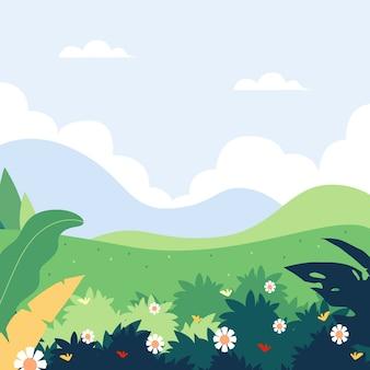 Paysage de printemps design plat