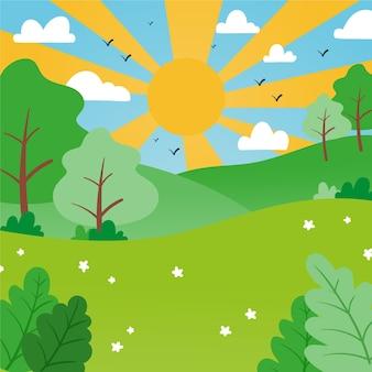 Paysage de printemps dessiné à la main avec soleil