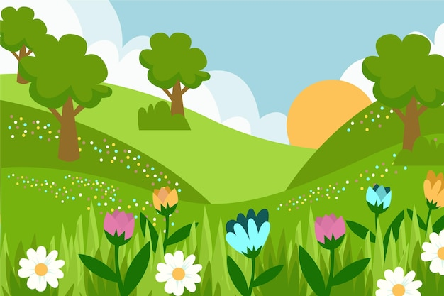 Paysage de printemps dessiné à la main