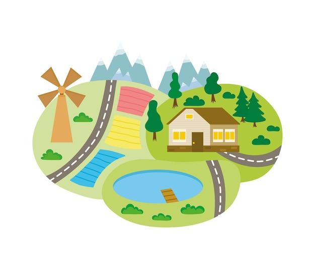 Paysage de printemps été avec route à travers champs verts, lacs, fermes, arbres forestiers, montagnes