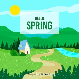 Paysage printemps fond