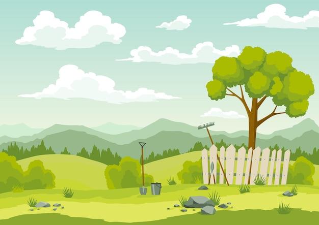 Paysage de printemps avec de l'herbe verte, des collines, un ciel bleu avec des nuages et des outils agricoles. fond de campagne nature dans un style cartoon plat. belle bannière avec champ et arbre