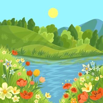 Paysage de printemps magnifique style dessiné à la main