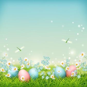 Paysage de printemps avec des oeufs de pâques