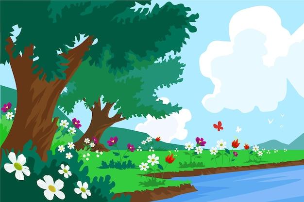 Paysage de printemps plat détaillé avec ciel bleu