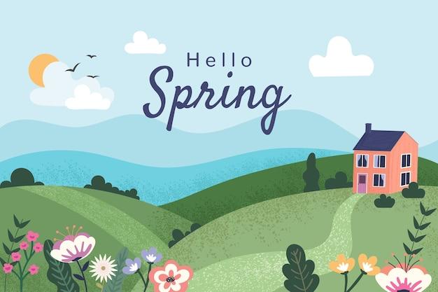 Paysage de printemps plat avec lettrage