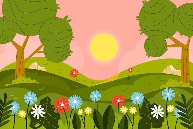 Paysage de printemps plat