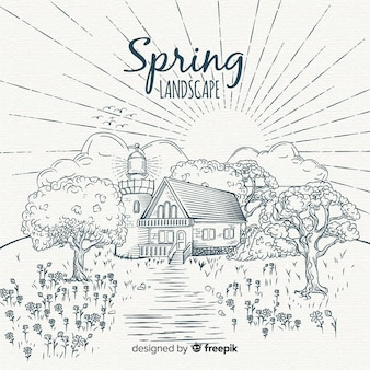 Paysage de printemps sans couleur