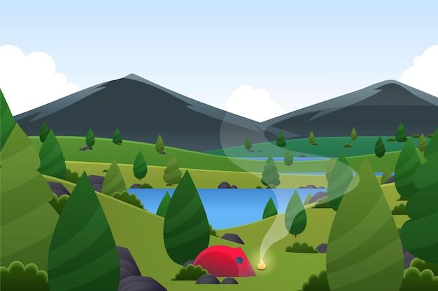Paysage de printemps avec tente et montagnes