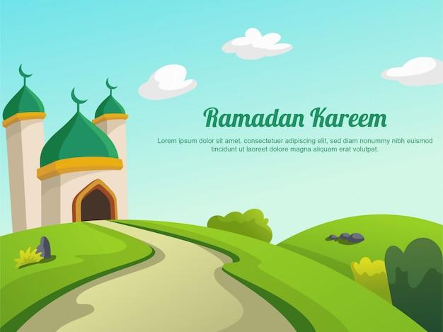 Paysage de ramadan kareem premium vector