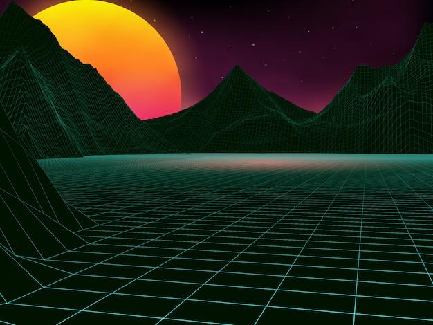 Paysage rétro futuriste des années 80.