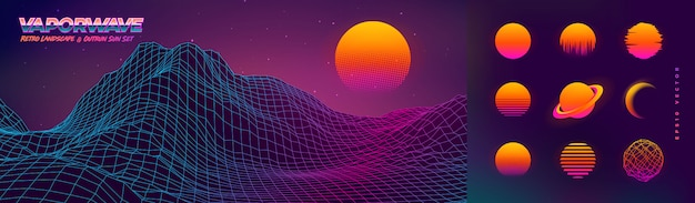 Paysage de retrowave 3d avec coucher de soleil dépassé