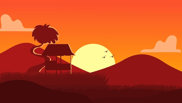 Paysage de rizière avec vecteur premium de style silhouette adapté à plusieurs usages