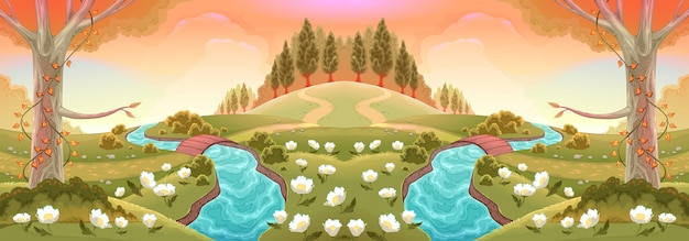 Paysage romantique avec rivières et fleurs. illustration de paysage de vecteur