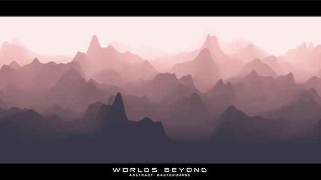 Paysage rougeâtre abstrait avec brouillard brumeux jusqu'à l'horizon sur les pentes des montagnes