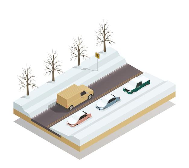 Paysage de route d'hiver isométrique