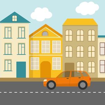 Paysage de rue ville plate avec voiture orange