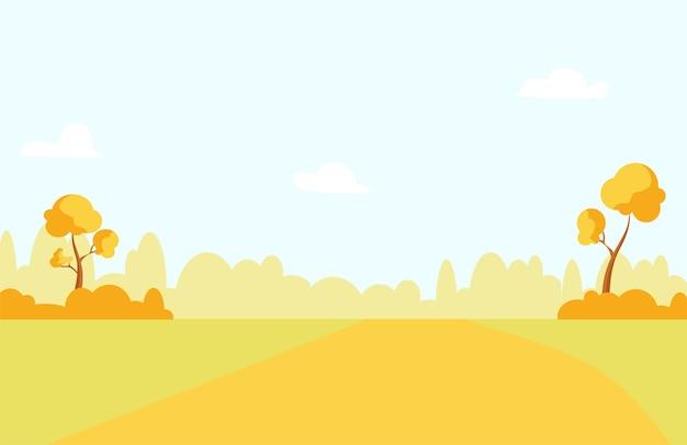 Paysage rural d'automne avec des arbres, des champs et une route. illustration de dessin animé de vecteur.