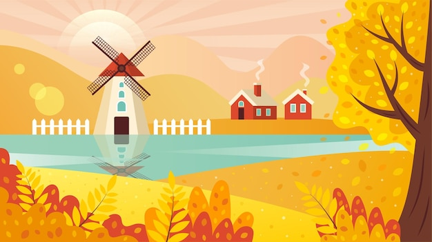 Paysage rural d'automne avec des fermes et des arbres de moulin à vent