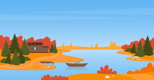 Paysage rural d'automne de rivière avec la maison en bois dans le bateau de pêche de forêt dans les eaux calmes