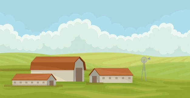Paysage rural d'été avec grange, champ avec de l'herbe verte, agriculture et agriculture illustration sur fond blanc