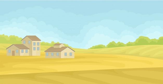 Paysage rural d'été avec des maisons de village, champ avec de l'herbe verte, l'agriculture et le concept agricole illustration sur fond blanc