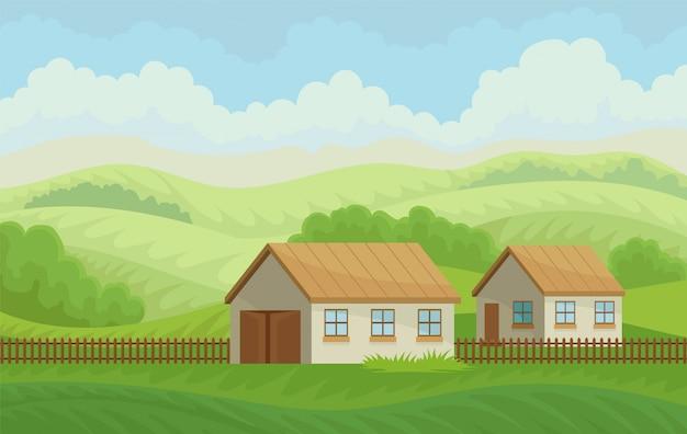 Paysage rural d'été avec maisons de village et clôture, prairie avec herbe verte, agriculture et agriculture illustration sur fond blanc