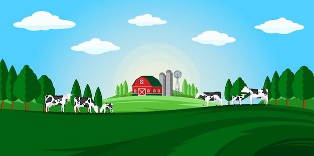 Paysage rural d'été de vecteur avec des vaches et des veaux de ferme
