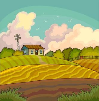Paysage rural de ferme avec champ.