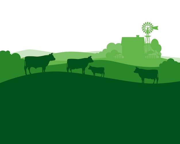 Paysage rural avec ferme laitière et vaches de troupeau.