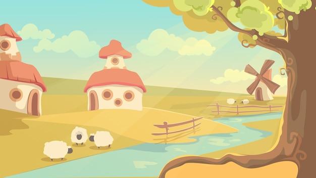 Paysage rural. paysage d'été de dessin animé mignon, maisons de conte de fées de village de campagne, ancien moulin à vent