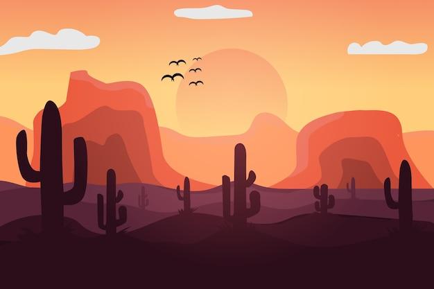Paysage le sahara dans l'après-midi le soleil coule