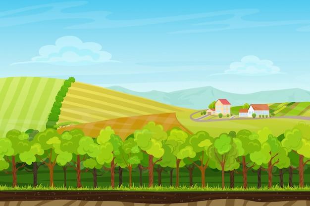 Paysage sans couture avec village de ferme