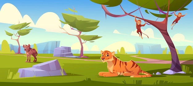 Paysage de savane avec tigre, singes et chacal
