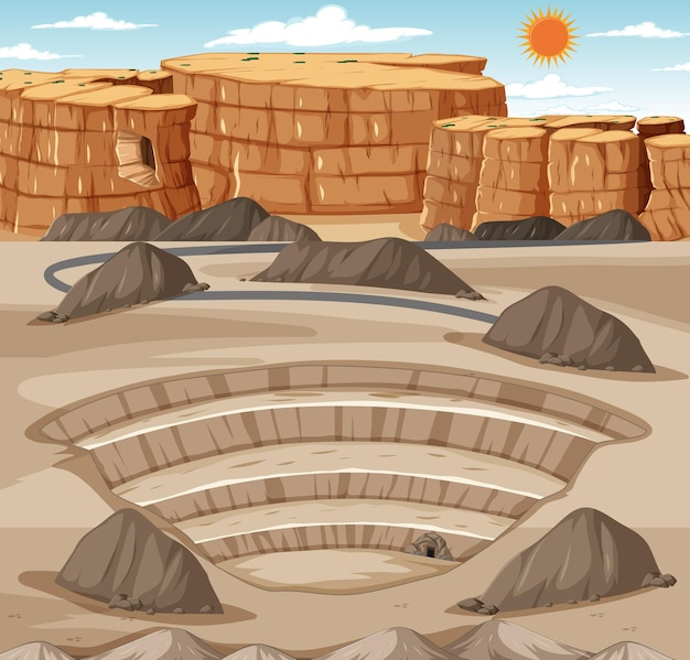 Paysage avec scène de carrière minière