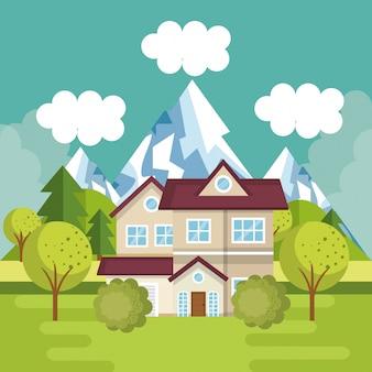 Paysage avec scène de maison