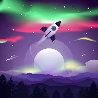 Paysage de science-fiction avec fusée et planète