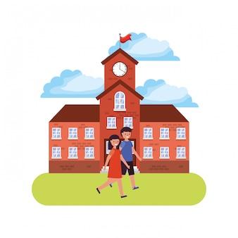 Paysage scolaire avec des étudiants