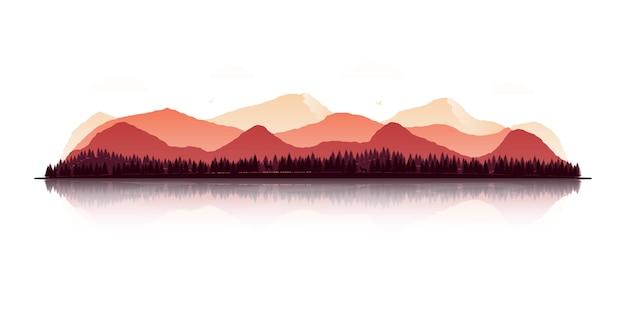 Paysage avec des silhouettes de montagnes, forêts, cerfs, loups et aigles.