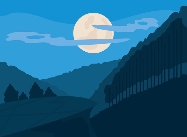 Paysage soir lune nuages montagnes arbres paysages