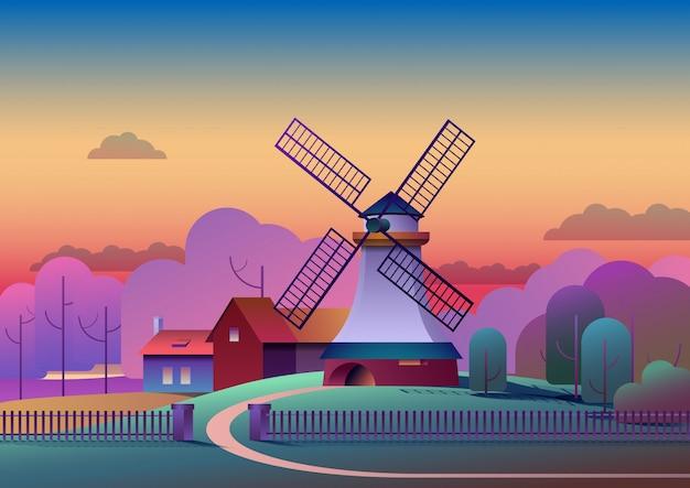 Paysage de soirée avec moulin et ferme sur les arbres de prairies et forêt sur fond