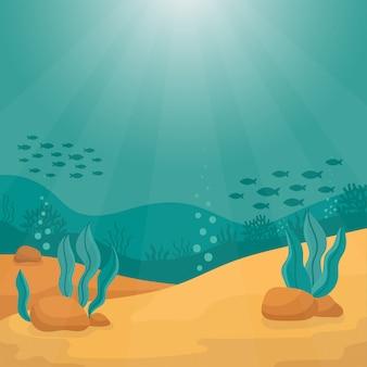 Paysage sous-marin de mer avec algues et petits poissons