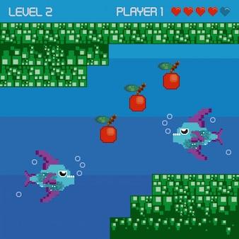 Paysage sous-marin pixelisé de jeux vidéo rétro