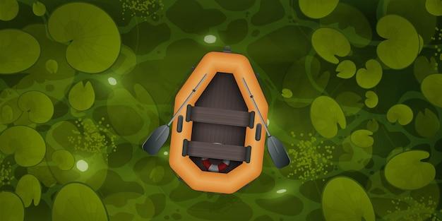 Paysage de style dessin animé vectoriel de la rivière verte ou de la surface ocre avec des plantes aquatiques et un bateau à rames vide avec deux rames.